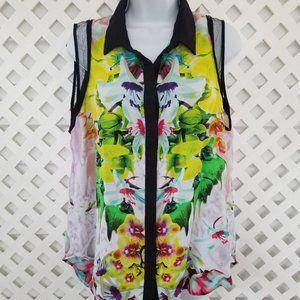 Prabal Gurung XL Tropical Print Button Up Top 7368